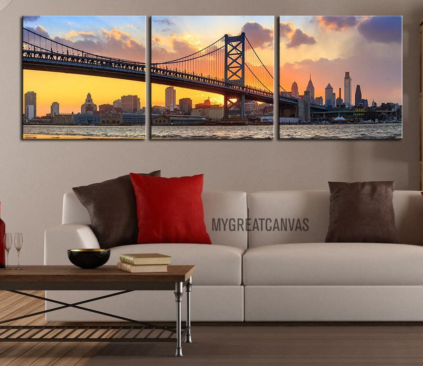 Large Wall Art Canvas Print Ben Franklin Bridge and Philadelphia Skyline at Sunset + Philadelphia Canvas Art Printing-Wall Art Canvas-Extra Large Wall Art Canvas Print-Extra Large Wall Art Canvas Print