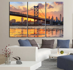 Large Wall Art Canvas Print Ben Franklin Bridge and Philadelphia Skyline by Night + Philadelphia Canvas Art Printing-Wall Art Canvas-Extra Large Wall Art Canvas Print-Extra Large Wall Art Canvas Print