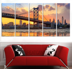 LARGE Wall Art Canvas Print Ben Franklin Bridge and Philadelphia Skyline by Night + Philadelphia Canvas Art Printing + Wall Art Canvas-Wall Art Canvas-Extra Large Wall Art Canvas Print-Extra Large Wall Art Canvas Print