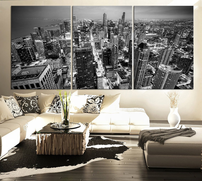 LARGE Wall Art Canvas Print Black and White Chicago Skyline - 3 Panel Triptych Grayscale chicago Extra Large Canvas Wall Art - MC101-Wall Art Canvas-Extra Large Wall Art Canvas Print-Extra Large Wall Art Canvas Print