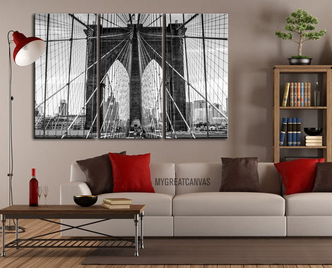 Large Wall Art Canvas Print Brooklyn Bridge 3 Panel + Ready to Hang + Stretched on Deep 3cm Frame-Wall Art Canvas-Extra Large Wall Art Canvas Print-Extra Large Wall Art Canvas Print
