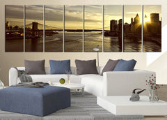 Large Wall Art Canvas Print Brooklyn Bridge With Sunset Over Manhattan Large Canvas Art - Large 8 Panel Wall Art Canvas Printing-Wall Art Canvas-Extra Large Wall Art Canvas Print-Extra Large Wall Art Canvas Print