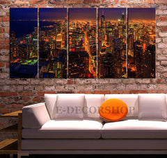 Large Wall Art Canvas Print Chicago City Night Skyline - Landscape Large Canvas Art Print - Large Wall Art Canvas-Wall Art Canvas-Extra Large Wall Art Canvas Print-Extra Large Wall Art Canvas Print