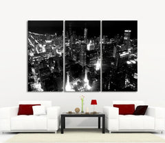 LARGE Wall Art Canvas Print Chicago City Skyline at Night - 3 Panel (3 Piece) Chicago Canvas Art Print - Framed and Streched Crisp Prints-Wall Art Canvas-Extra Large Wall Art Canvas Print-Extra Large Wall Art Canvas Print