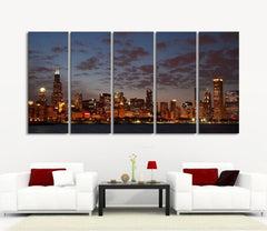 Large Wall Art Canvas Print Chicago City Skyline at Night - 5 Panel (5 Piece) Chicago Canvas Art Print - Framed and Streched Crisp Prints CH-01-Wall Art Canvas-Extra Large Wall Art Canvas Print-Extra Large Wall Art Canvas Print