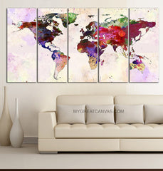 Large Wall Art Canvas Print Colorful Watercolor World Map - Paint Splash World Map Framed Giclee Map Canvas - Ready to Hang-Wall Art Canvas-Extra Large Wall Art Canvas Print-Extra Large Wall Art Canvas Print