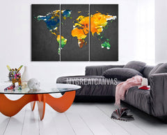 Large Wall Art Canvas Print Colorful WORLD MAP Gray Background - 3 Panel Canvas Art Print Watercolor World Map - Colorful Mix World Map-Wall Art Canvas-Extra Large Wall Art Canvas Print-Extra Large Wall Art Canvas Print