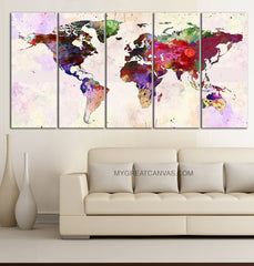 Large Wall Art Canvas Print Colorful World Map - Paint Splash World Map Framed Giclee Map Canvas - Watercolor World Map - MC45-Wall Art Canvas-Extra Large Wall Art Canvas Print-Extra Large Wall Art Canvas Print