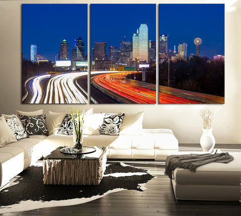 LARGE Wall Art Canvas Print Dallas at Night Skyline - Wall Art Canvas Dallas City Skyline at Night Large Canvas Art Paintings-Wall Art Canvas-Extra Large Wall Art Canvas Print-Extra Large Wall Art Canvas Print