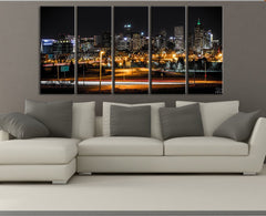 LARGE Wall Art Canvas Print Denver Night Skyline - 5 Panel (5 Piece) Denver City Landscape Canvas Art Print - MC27-Wall Art Canvas-Extra Large Wall Art Canvas Print-Extra Large Wall Art Canvas Print