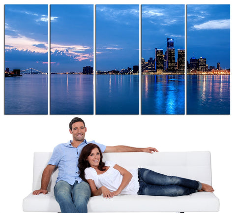 LARGE Wall Art Canvas Print Detroit Michigan City Night Skyline - Canvas Detroit City Landscape Chicago Skyline Large Wall Art Canvas-Wall Art Canvas-Extra Large Wall Art Canvas Print-Extra Large Wall Art Canvas Print