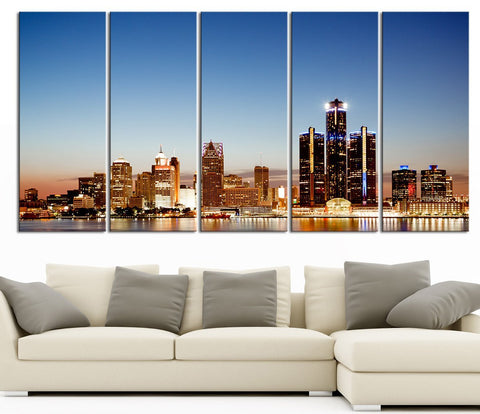 Large Wall Art Canvas Print Detroit Michigan City Night Skyline - Canvas Detroit City Landscape Large Art Print-Wall Art Canvas-Extra Large Wall Art Canvas Print-Extra Large Wall Art Canvas Print