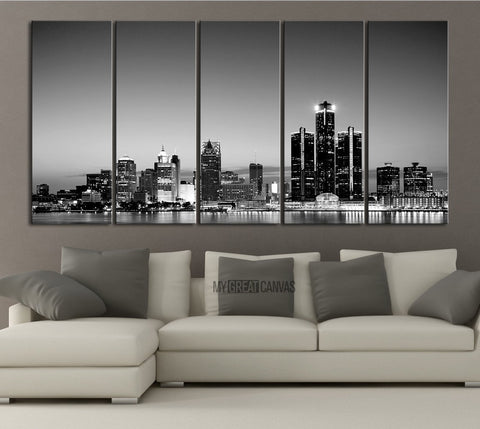 LARGE Wall Art Canvas Print Detroit Michigan City Night Skyline - Detroit City Landscape Large Art Print - Chicago Skyline Wall Art Canvas-Wall Art Canvas-Extra Large Wall Art Canvas Print-Extra Large Wall Art Canvas Print
