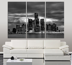 LARGE Wall Art Canvas Print Detroit Night Skyline 3 Piece Wall Canvas Art Print - Detroit Citycape Large Canvas Art Print - Giclee Print - MC38-Wall Art Canvas-Extra Large Wall Art Canvas Print-Extra Large Wall Art Canvas Print