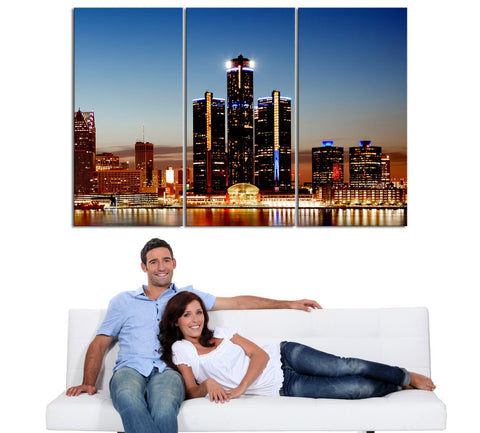 Large Wall Art Canvas Print Detroit Night Skyline 3 Piece Wall Canvas Art Print - Framed - Giclee Print-Wall Art Canvas-Extra Large Wall Art Canvas Print-Extra Large Wall Art Canvas Print
