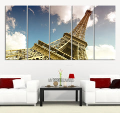 Large Wall Art Canvas Print Eiffel Tower Landscape - Canvas Art Eiffel - Canvas Wall Art Paris France - 5 Panel-Wall Art Canvas-Extra Large Wall Art Canvas Print-Extra Large Wall Art Canvas Print