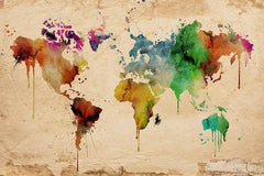 Large Wall Art Canvas Print - Grunge World Map Print, World Map Wall Art, Canvas Art Print Watercolor World Map Wall Color Splashed on Map,-Wall Art Canvas-Extra Large Wall Art Canvas Print-Extra Large Wall Art Canvas Print