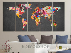 Large Wall Art Canvas Print Ink Splash WORLD MAP Art Drawing - Watercolor World Map 5 PANEL Canvas Art Print - Colorful World Map-Wall Art Canvas-Extra Large Wall Art Canvas Print-Extra Large Wall Art Canvas Print