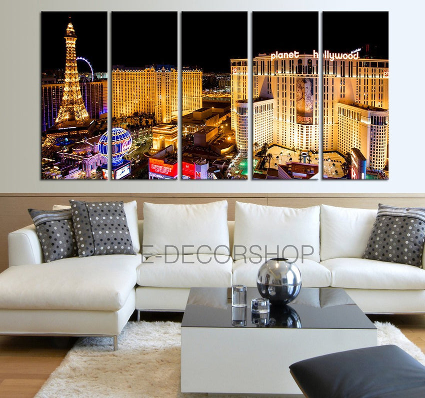 Large Wall Art Canvas Print Las Vegas City Night Skyline - Vegas Large Canvas Art Print - Large Wall Art Canvas-Wall Art Canvas-Extra Large Wall Art Canvas Print-Extra Large Wall Art Canvas Print