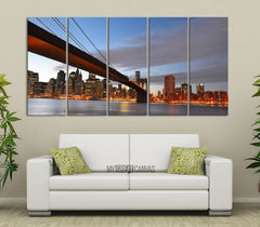 Large Wall Art Canvas Print Manhattan City Skyline (New York) Landscape Large Canvas Art Print - Brooklyn Bridge Landscape Canvas Prints-Wall Art Canvas-Extra Large Wall Art Canvas Print-Extra Large Wall Art Canvas Print