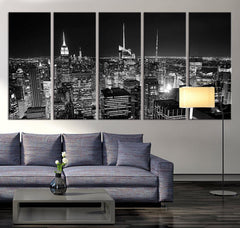 Large Wall Art Canvas Print - Manhattan New York at Night Panorama, Large Wall Art New York Art Reflections, New York City Streched Canvas,-Wall Art Canvas-Extra Large Wall Art Canvas Print-Extra Large Wall Art Canvas Print