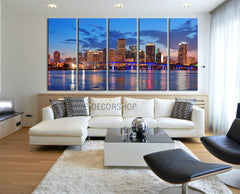 Large Wall Art Canvas Print Miami City Skyline at Night - 5 Panel (5 Piece) Miami Beach Canvas Art Print - Framed and Streched Crisp Prints-Wall Art Canvas-Extra Large Wall Art Canvas Print-Extra Large Wall Art Canvas Print