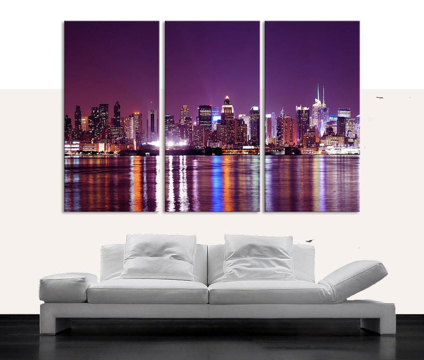 Large Wall Art Canvas Print New Jersey City Night Skyline 3 Piece Wall Canvas Art Print - Framed - MC93-Wall Art Canvas-Extra Large Wall Art Canvas Print-Extra Large Wall Art Canvas Print