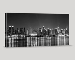 Large Wall Art Canvas Print New York City Manhattan Skyline Panorama at Night - Grayscale Manhattan Art Canvas - Streched Canvas Print-Wall Art Canvas-Extra Large Wall Art Canvas Print-Extra Large Wall Art Canvas Print