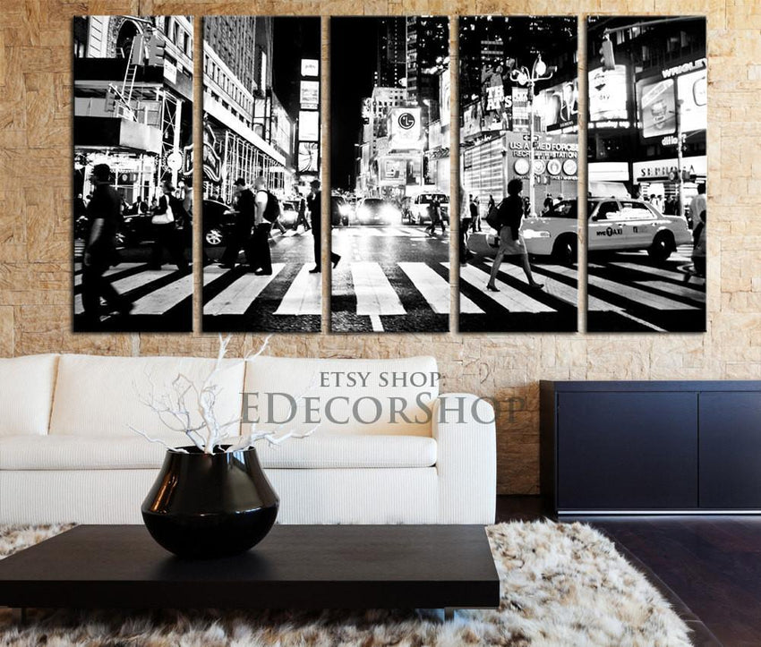 Large Wall Art Canvas Print New York City Times Square Canvas Print Framed 5 Panel Canvas - New York City Street Art Canvas Print - MC181-Wall Art Canvas-Extra Large Wall Art Canvas Print-Extra Large Wall Art Canvas Print