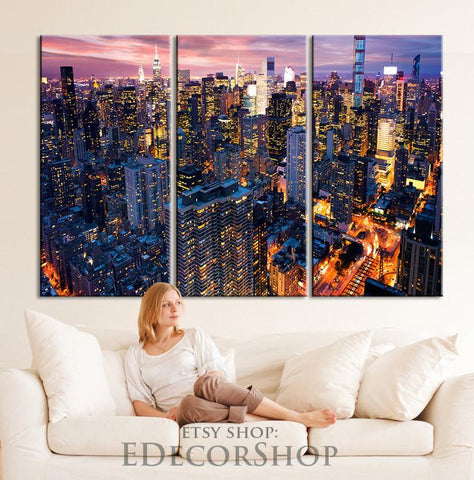 Large Wall Art Canvas Print New York Manhattan at Night Photo Wall Art - 3 Panel (3 Piece) Wall Art Streched Canvas Print-Wall Art Canvas-Extra Large Wall Art Canvas Print-Extra Large Wall Art Canvas Print