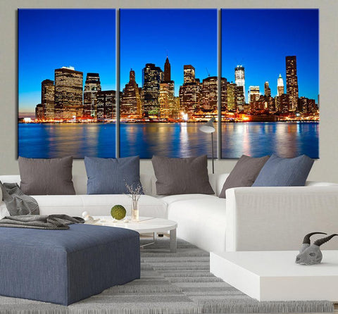 LARGE Wall Art Canvas Print Night View of Manhattan, New York City- Contemporary 3 Panel Triptych New York Canvas Art Large Wall Art - MC59-Wall Art Canvas-Extra Large Wall Art Canvas Print-Extra Large Wall Art Canvas Print