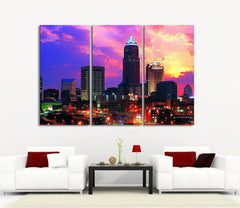Large Wall Art Canvas Print Ohio City Skyscraper at Twilight and Colorful Sky -3 Panel (3 Piece) Ohio Canvas Art Print - Framed Crisp Prints-Wall Art Canvas-Extra Large Wall Art Canvas Print-Extra Large Wall Art Canvas Print
