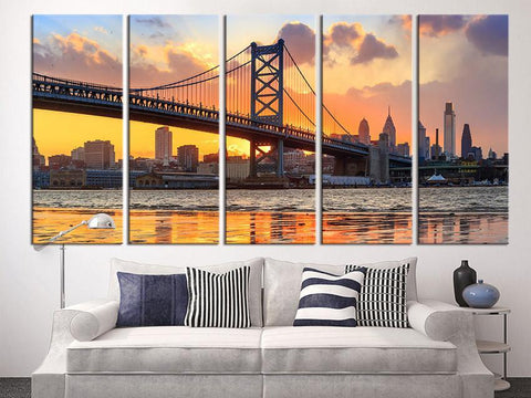 Large Wall Art Canvas Print, Philadelphia Ben Franklin Bridge Skyline Canvas Art Print, Extra Large Skyline Philadelphia Wall Art Print-Wall Art Canvas-Extra Large Wall Art Canvas Print-Extra Large Wall Art Canvas Print
