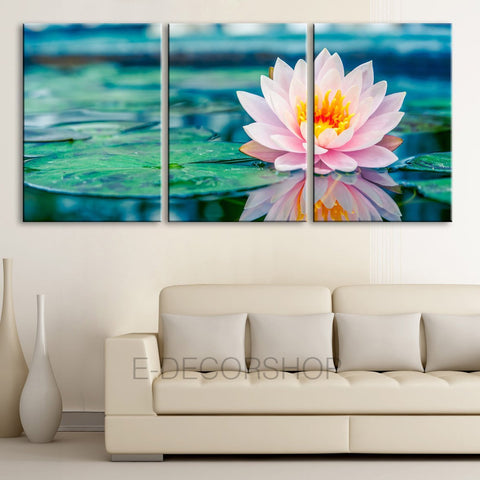 Large Wall Art CANVAS PRINT Pink Lotus Flower and Water Lily Canvas Print - 3 Panel Canvas Gallery Wrap Set - MC44-Wall Art Canvas-Extra Large Wall Art Canvas Print-Extra Large Wall Art Canvas Print