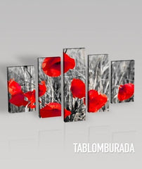 Large Wall Art CANVAS PRINT- Red Poppies on Black and White Theme Canvas Printing + Art Canvas Print + 5 Panel + Ready to Hang - MC64-Wall Art Canvas-Extra Large Wall Art Canvas Print-Extra Large Wall Art Canvas Print