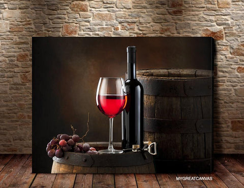 Large Wall Art Canvas Print Red Wine, Barrel and Wine Bottle | Wineglass Art Canvas Print - Large Size Wall Art-Wall Art Canvas-Extra Large Wall Art Canvas Print-Extra Large Wall Art Canvas Print