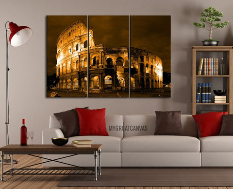 Large Wall Art Canvas Print Rome Colosseum Orange Sky 3 Panel - Colosseum Wall Art Canvas - Framed Giclee Large Print-Wall Art Canvas-Extra Large Wall Art Canvas Print-Extra Large Wall Art Canvas Print