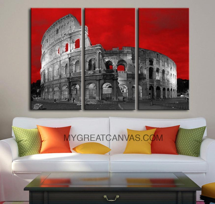 Large Wall Art Canvas Print Rome Colosseum with Red Sky 3 Panel - Colosseum Wall Art Canvas - Framed Giclee Large Print - MC61-Wall Art Canvas-Extra Large Wall Art Canvas Print-Extra Large Wall Art Canvas Print
