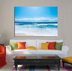Large Wall Art Canvas Print Shiny Blue Sea and Beach-Extra Large Wall Art Canvas Print