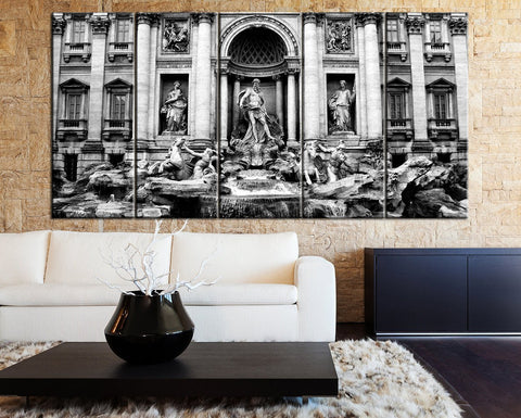 Large Wall Art Canvas Print Trevi Fountain in Rome Canvas Print Framed 5 Panel Canvas - Trevi Fountain in Rome Italy Art Canvas Print-Wall Art Canvas-Extra Large Wall Art Canvas Print-Extra Large Wall Art Canvas Print