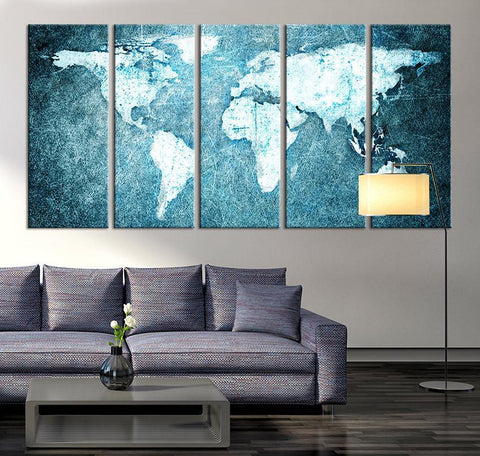 Large Wall Art Canvas Print - Turquoise World Map Print, World Map Wall Art, World Map on Grunge Canvas Print, Large Wall Art World Map,-Wall Art Canvas-Extra Large Wall Art Canvas Print-Extra Large Wall Art Canvas Print