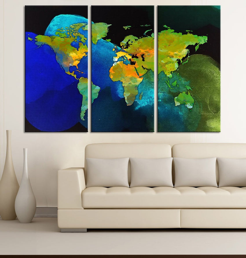 Large Wall Art Canvas Print Watercolor WORLD MAP with Black Background - Green World Map 3 Piece Canvas Art Print - Colorful World Map-Wall Art Canvas-Extra Large Wall Art Canvas Print-Extra Large Wall Art Canvas Print