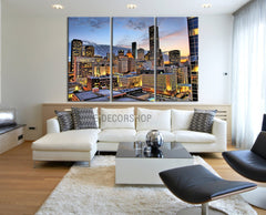 Large Wall Art Canvas Prints Houston Night Landscape Canvas Print - 3 Panel Streched Giclee - MC213-Wall Art Canvas-Extra Large Wall Art Canvas Print-Extra Large Wall Art Canvas Print