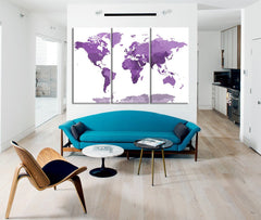 Large Wall Art Canvas Purple WORLD MAP with White Background - 3 Panel Canvas Art Print - Framed World Map - Colorful Watercolor World Map - MC48-Wall Art Canvas-Extra Large Wall Art Canvas Print-Extra Large Wall Art Canvas Print
