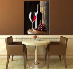 Large Wall Art Canvas Red Wine, Wine Bottle and Barrel Giclee Canvas Art Print-Wall Art Canvas-Extra Large Wall Art Canvas Print-Extra Large Wall Art Canvas Print