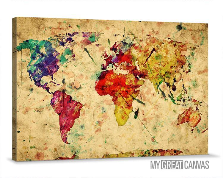 Large Wall Art Canvas Retro and Colorful Old World Map Print | Wall Art Map Canvas | Watercolor World Map Canvas Print-Wall Art Canvas-Extra Large Wall Art Canvas Print-Extra Large Wall Art Canvas Print