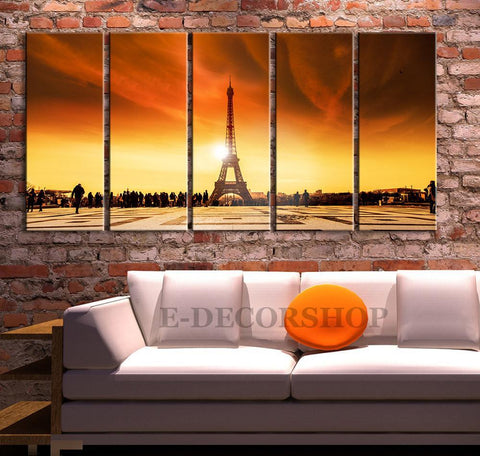 Large Wall Art Canvas Sunset in Paris Eiffel Tower Canvas Art, Sunset Eiffel Tower Art Print, France Sunset Canvas | Paris Canvas Printing-Wall Art Canvas-Extra Large Wall Art Canvas Print-Extra Large Wall Art Canvas Print