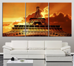 LARGE Wall Art Canvas Sunset on Print Eiffel Tower - Contemporary 3 Panel Triptych Paris Eiffel Tower Canvas Art Large Wall Art-Wall Art Canvas-Extra Large Wall Art Canvas Print-Extra Large Wall Art Canvas Print