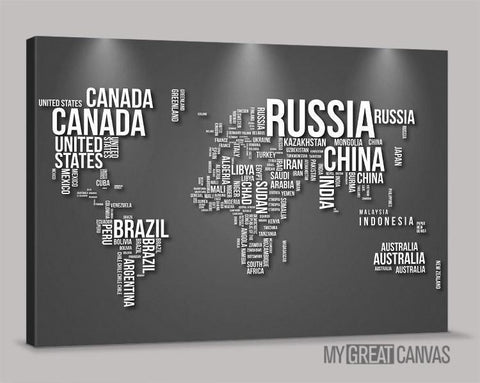 Large Wall Art Canvas Typography Gray and Black World Map Canvas Prints | Wall Art Map Canvas | Type World Map Canvas Painting-Wall Art Canvas-Extra Large Wall Art Canvas Print-Extra Large Wall Art Canvas Print