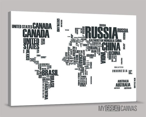 Large Wall Art Canvas Typography World Map Prints | Wall Art Map Canvas | Type World Map Canvas Painting-Wall Art Canvas-Extra Large Wall Art Canvas Print-Extra Large Wall Art Canvas Print